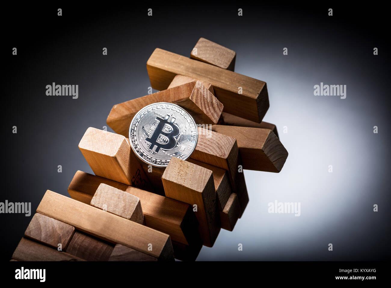 Bitcoin rischio di investimento Concetto di immagine Immagini Stock
