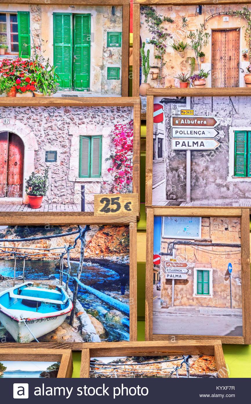 Mercato locale stand, Alcudia Maiorca, isole Baleari, Spagna, Europa Immagini Stock
