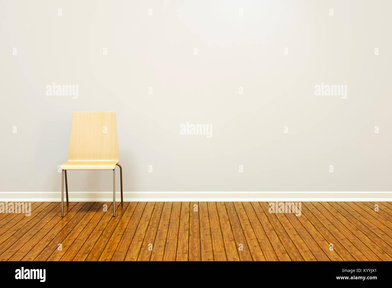 Grande muro grezzo in una stanza vuota con un pavimento in legno e la sedia di base Immagini Stock