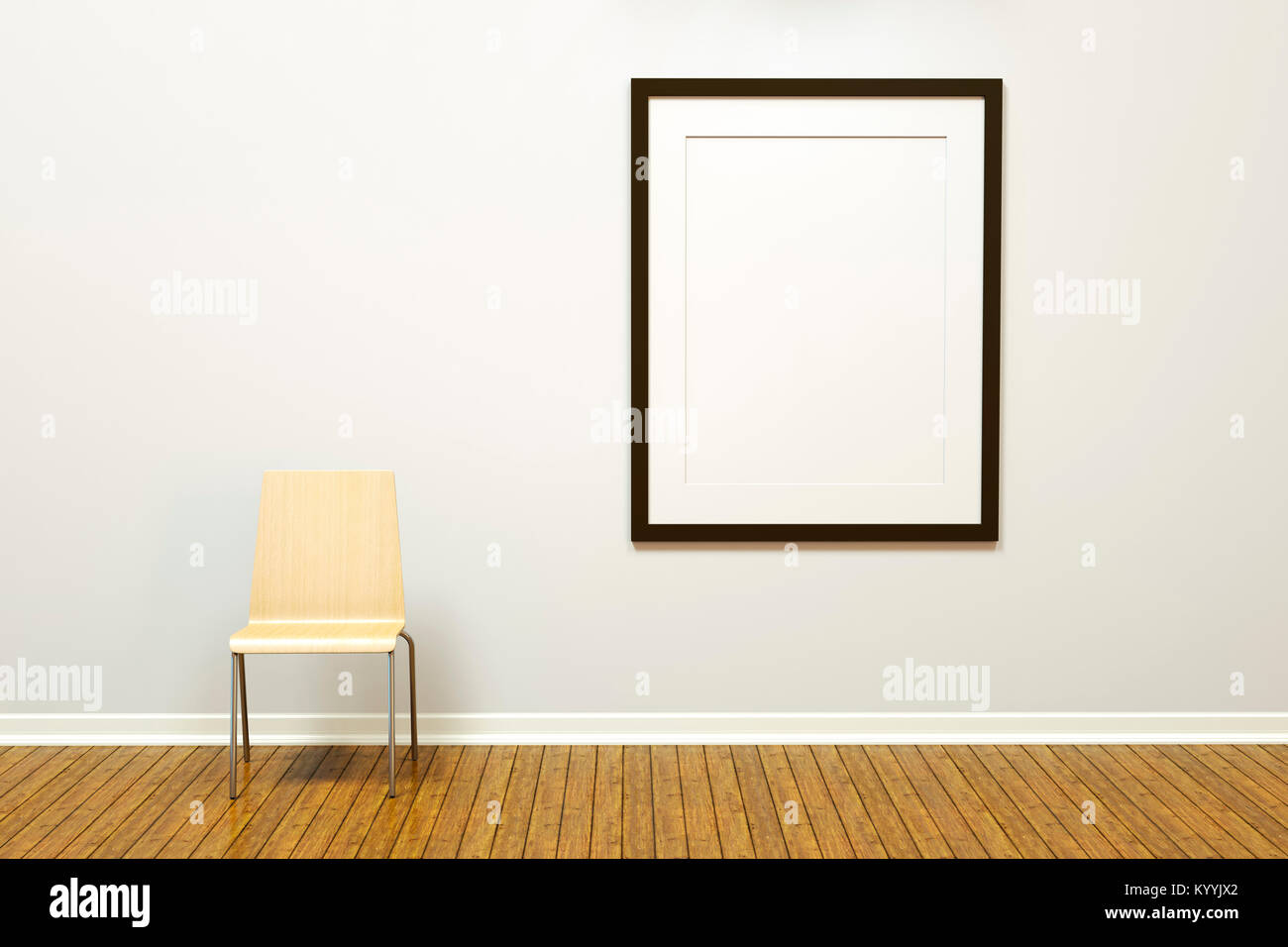 Vuoti di grandi dimensioni immagine verticale il telaio con tappetino su una parete in una stanza vuota o una galleria Immagini Stock