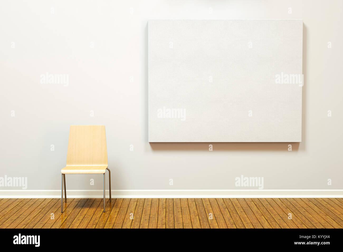 Grande tela blocco picture frame su un muro grezzo in una stanza vuota o una galleria d'arte con un pavimento Immagini Stock