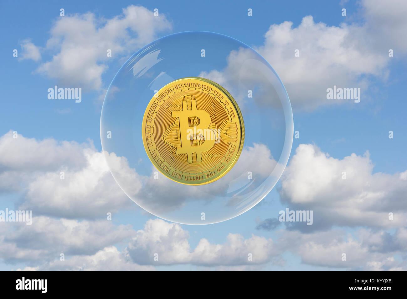 Bitcoin flottante in una bolla - concetto di valutazione Immagini Stock