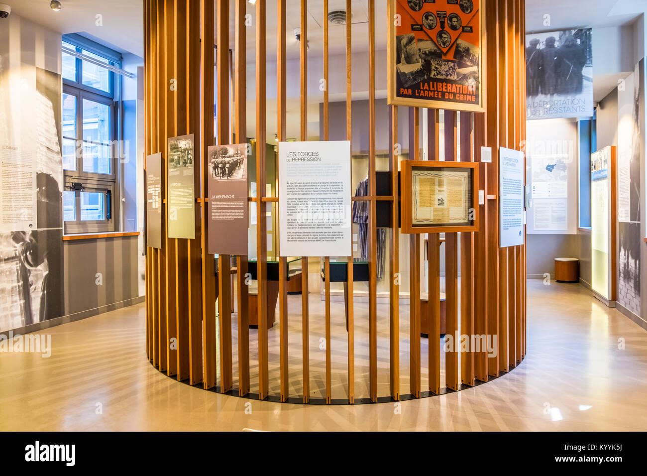 Museo della Resistenza e deportazione noto anche come la resistenza e la deportazione di storia nel centro di Lione, Immagini Stock
