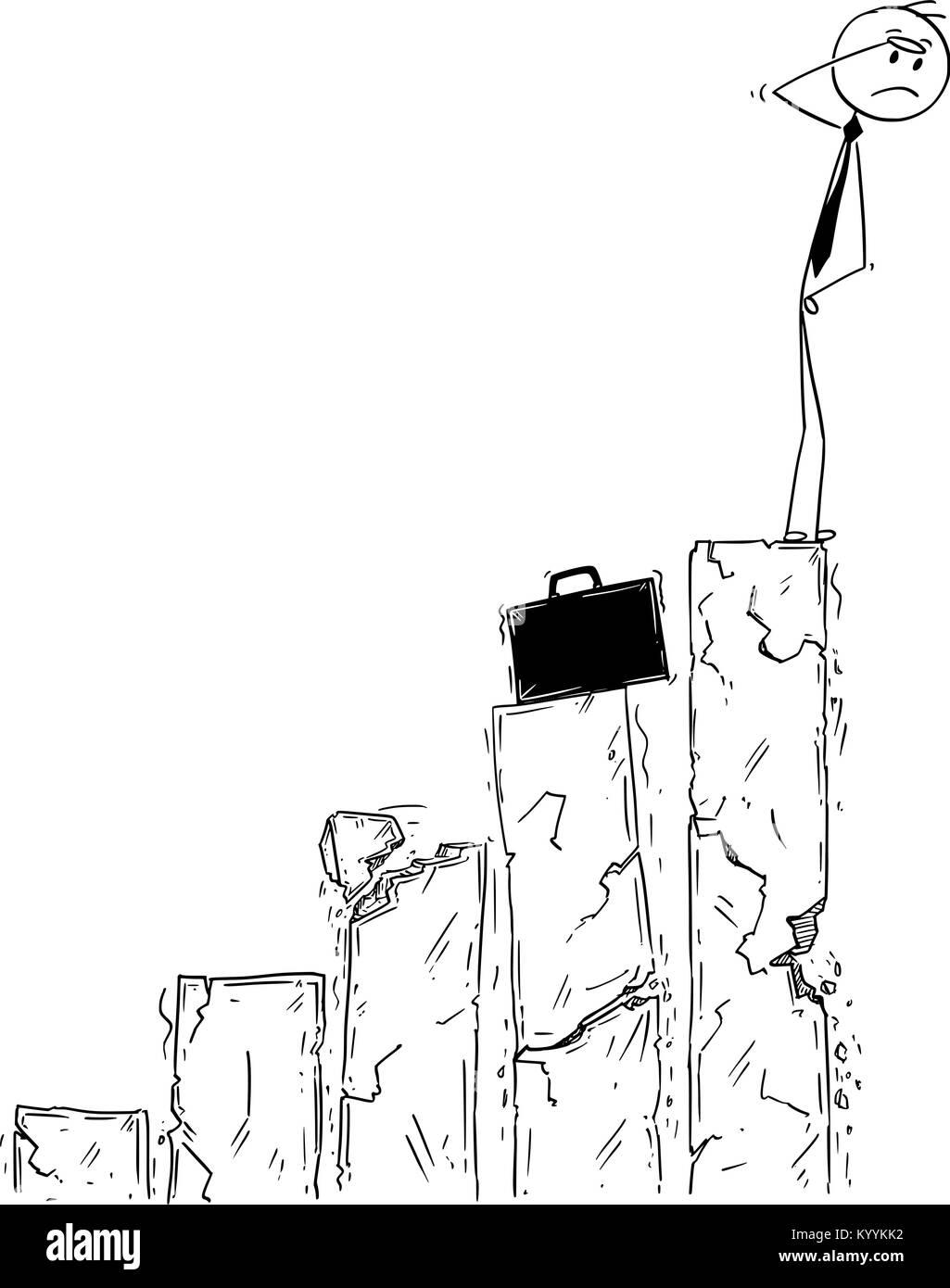 Cartoon concettuale di imprenditore rivolta verso il fallimento e la crisi Immagini Stock