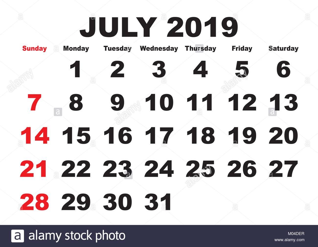 Calendario 31 Luglio 2019.2019 Calendario Mese Di Luglio Vettore Calendario