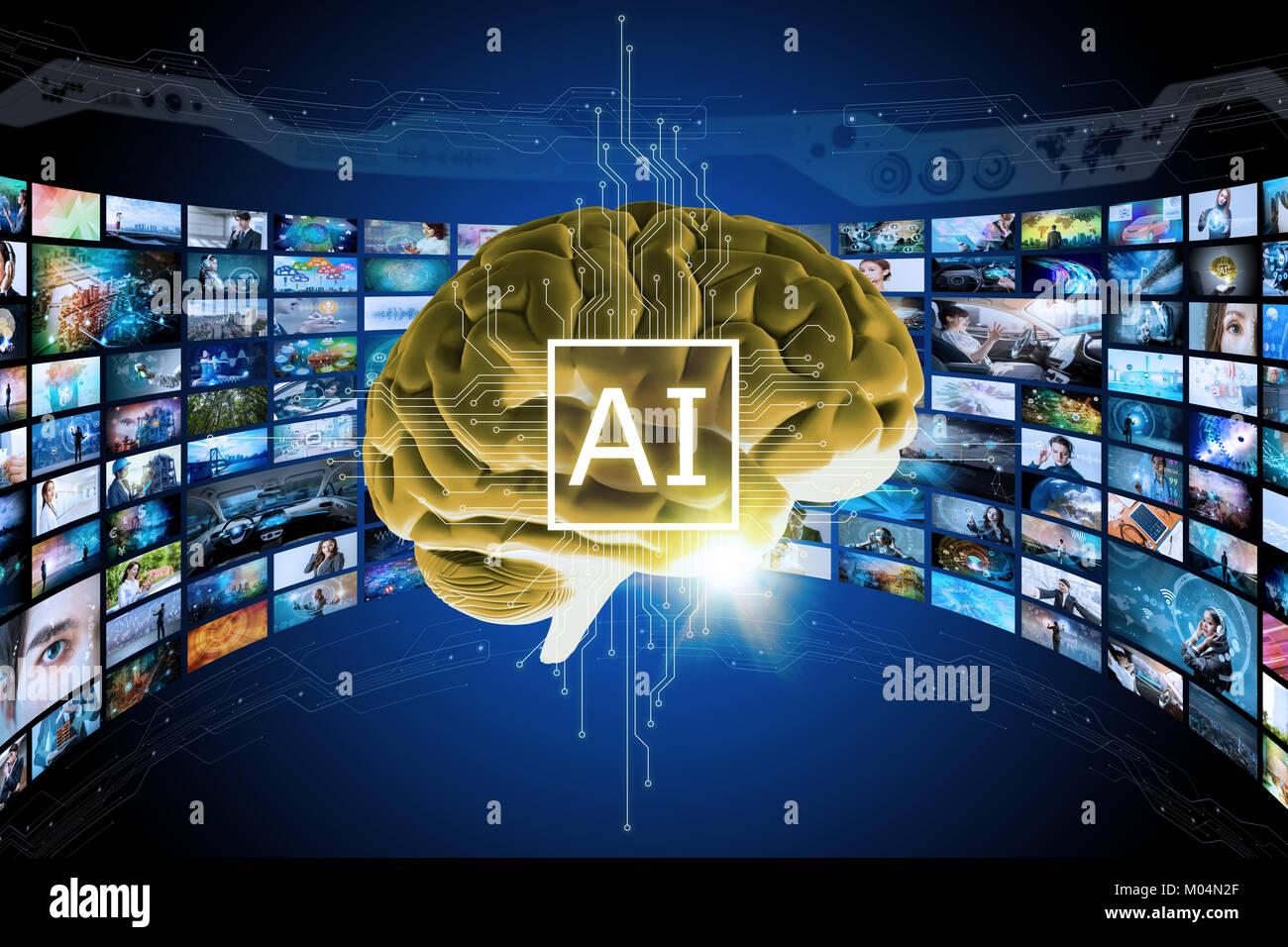 Intelligenza Artificiale concetto. 3D rendering cervello virtuale e visualizzati i ricordi. Il cloud computing. Immagini Stock