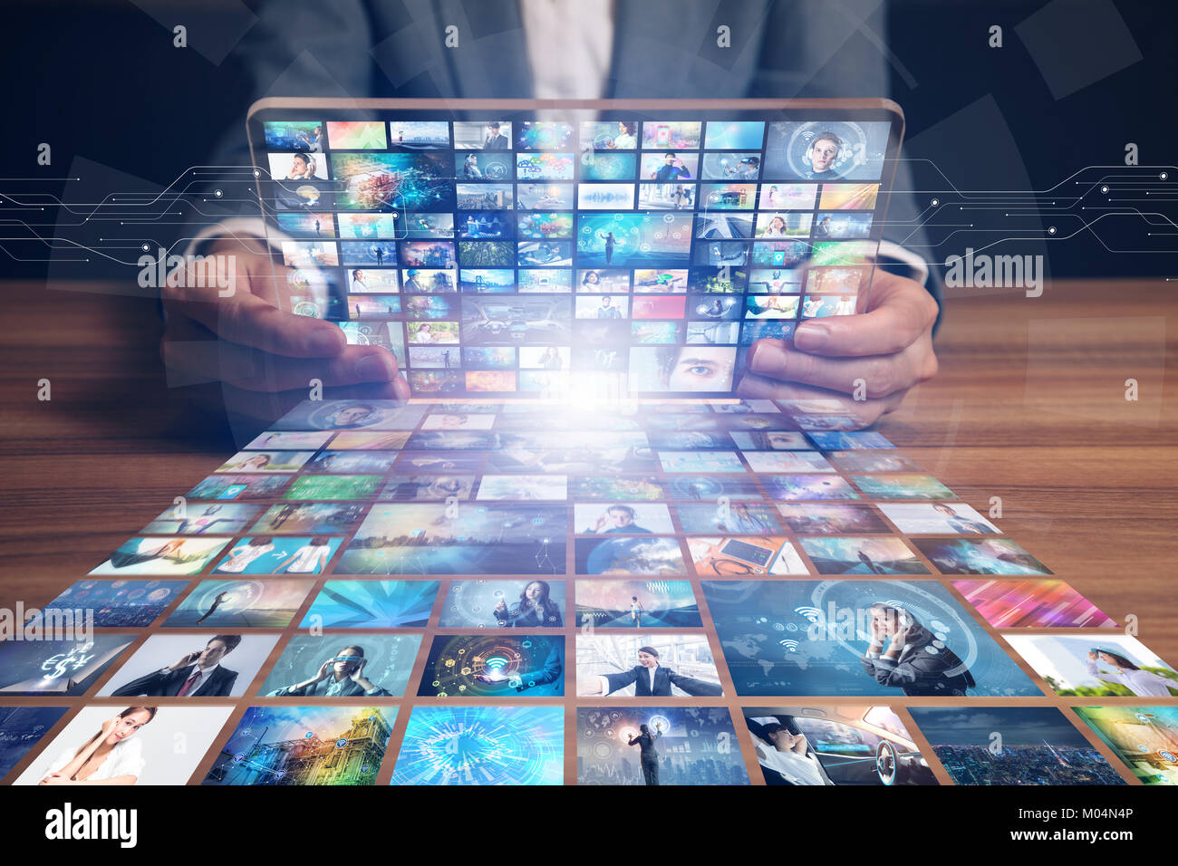 Video sito web hosting. filmato streaming service. digital photo album. Immagini Stock