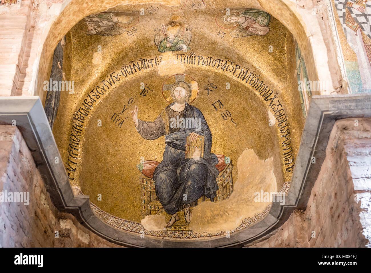 Antico mosaico raffigurante Gesù Cristo in Theotokos Pammakaristos Chiesa a Fethiye Camii in Carsamba vicinanze della contea di Fatih di Istanbul, Turchia.15 OC Foto stock - Alamy