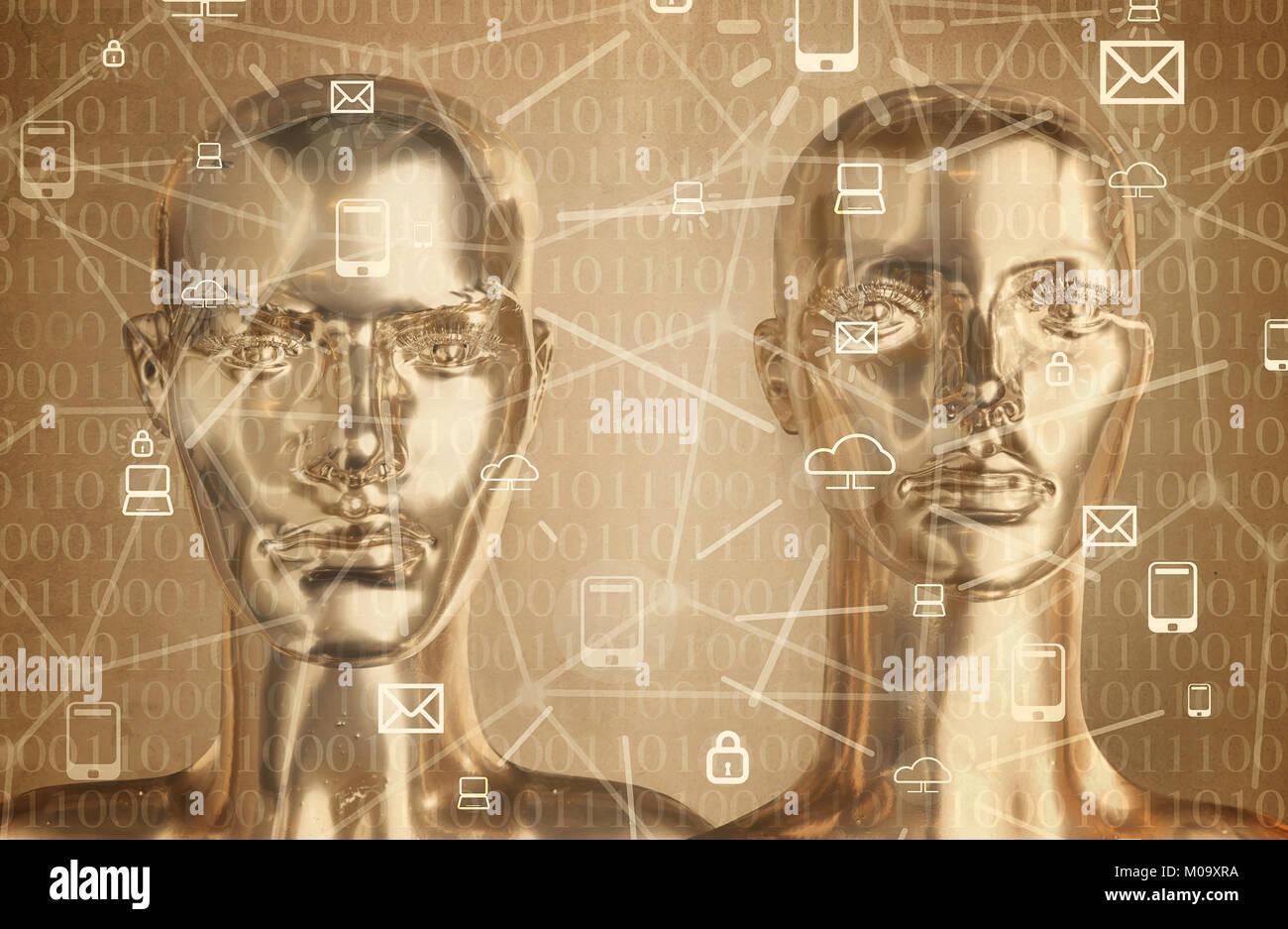 Intelligenza artificiale - concetto di globalizzazione, Internet, rete Immagini Stock