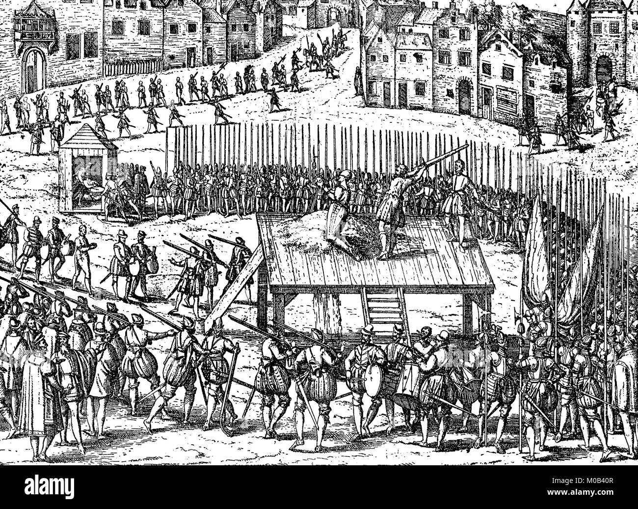 Esecuzione di nobiltà dopo l indulgenza dicendo di Albas, su Rossmarkt in Bruxelles, 1572, Belgio, digitale Immagini Stock