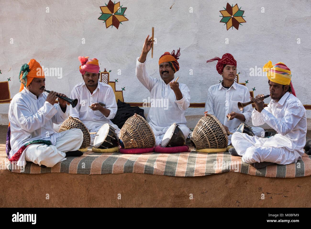 Rajasthani musicisti folk, Udaipur, India Immagini Stock