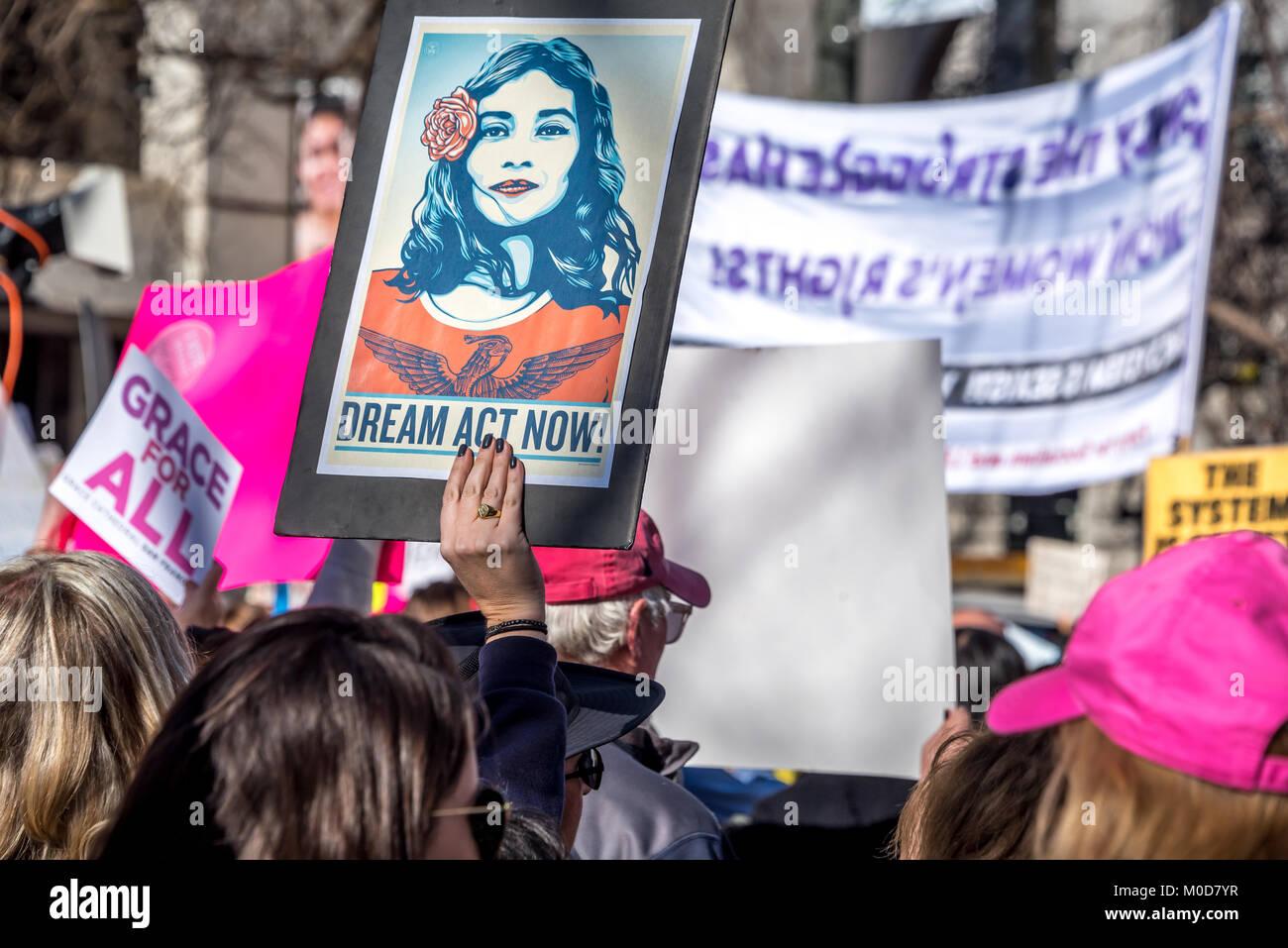 San Francisco, California, Stati Uniti d'America. Il 20 gennaio, 2018. Il 2018 donne di Marzo a San Francisco, Immagini Stock