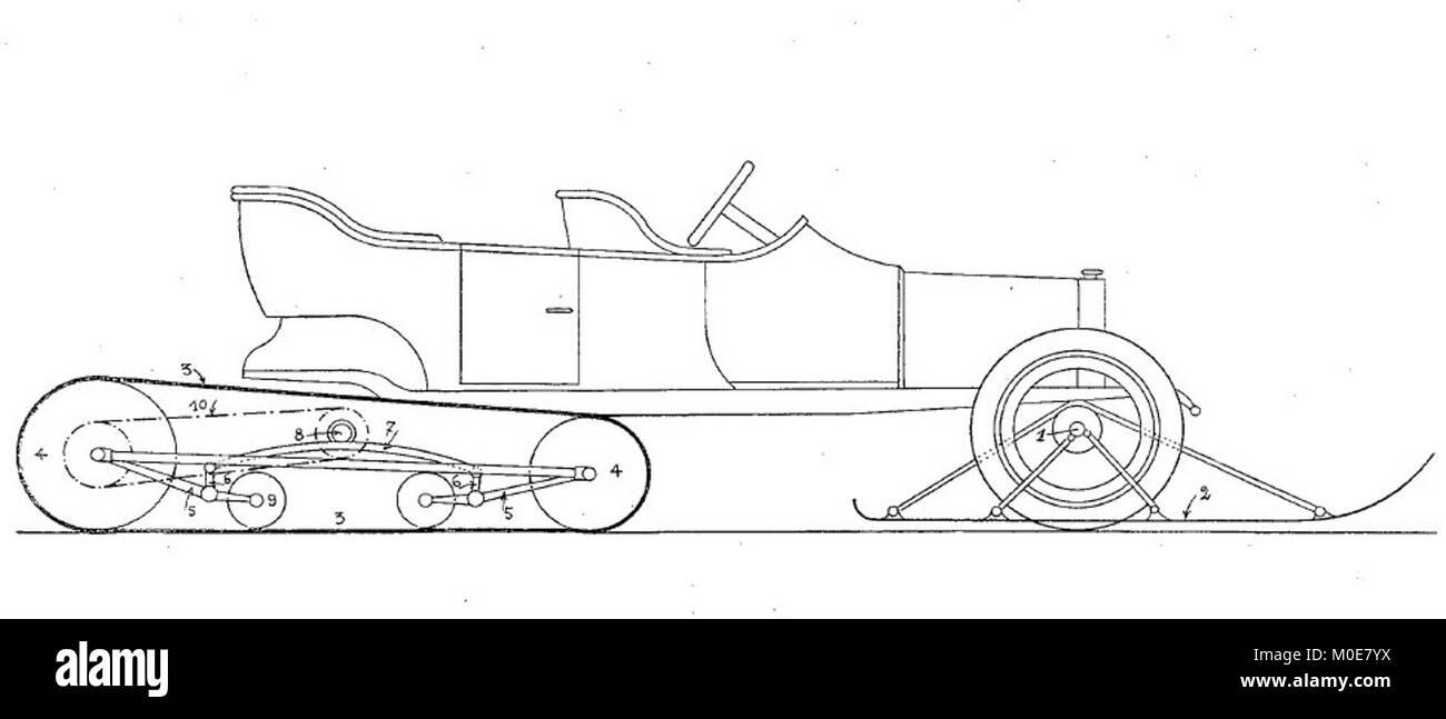 Disegno Di Brevetto Kegresse A Mezza Via CH65643 1913