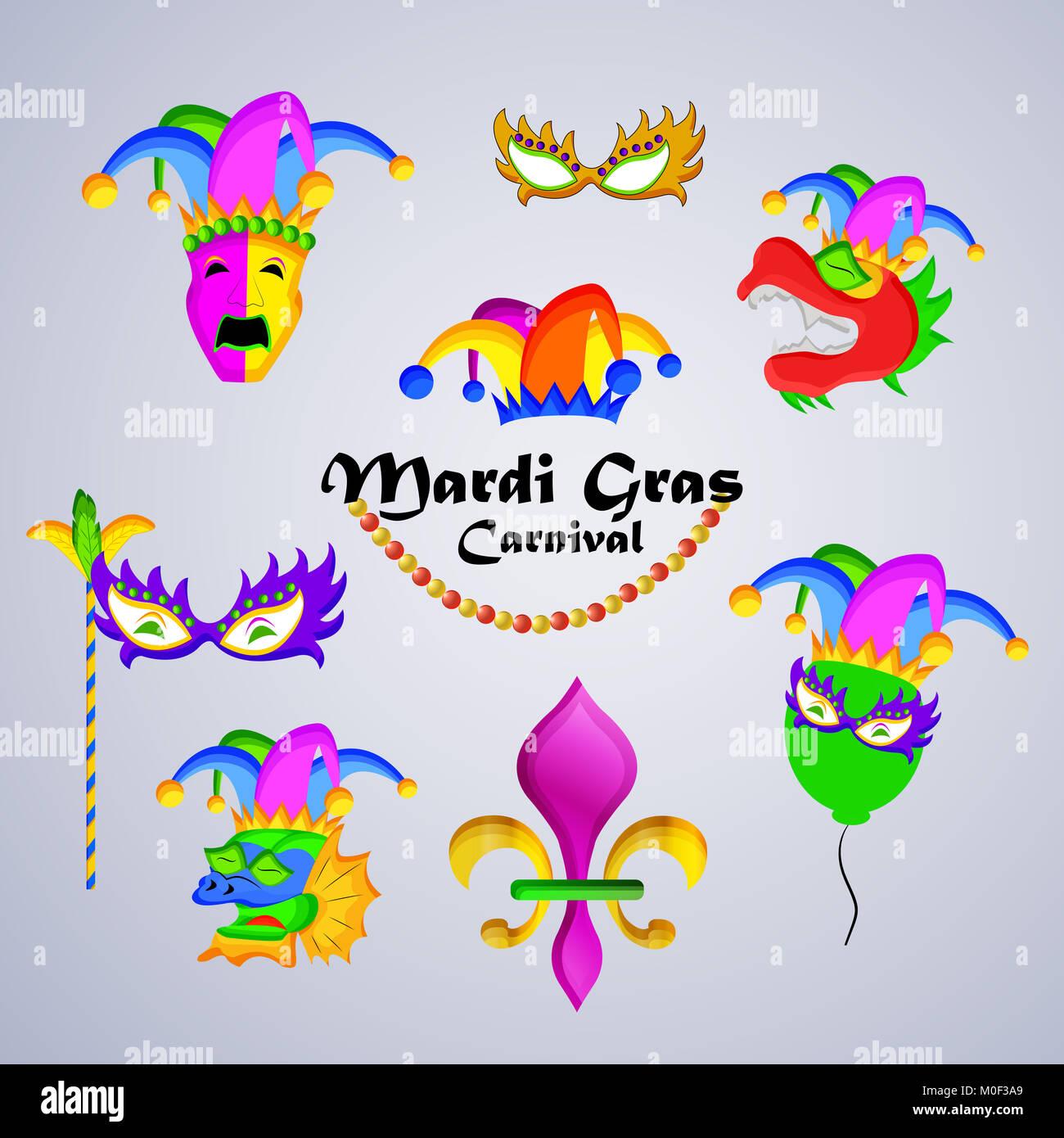 Illustrazione di elementi del Mardi Gras sfondo Carnevale Immagini Stock 58c2db0de2fe