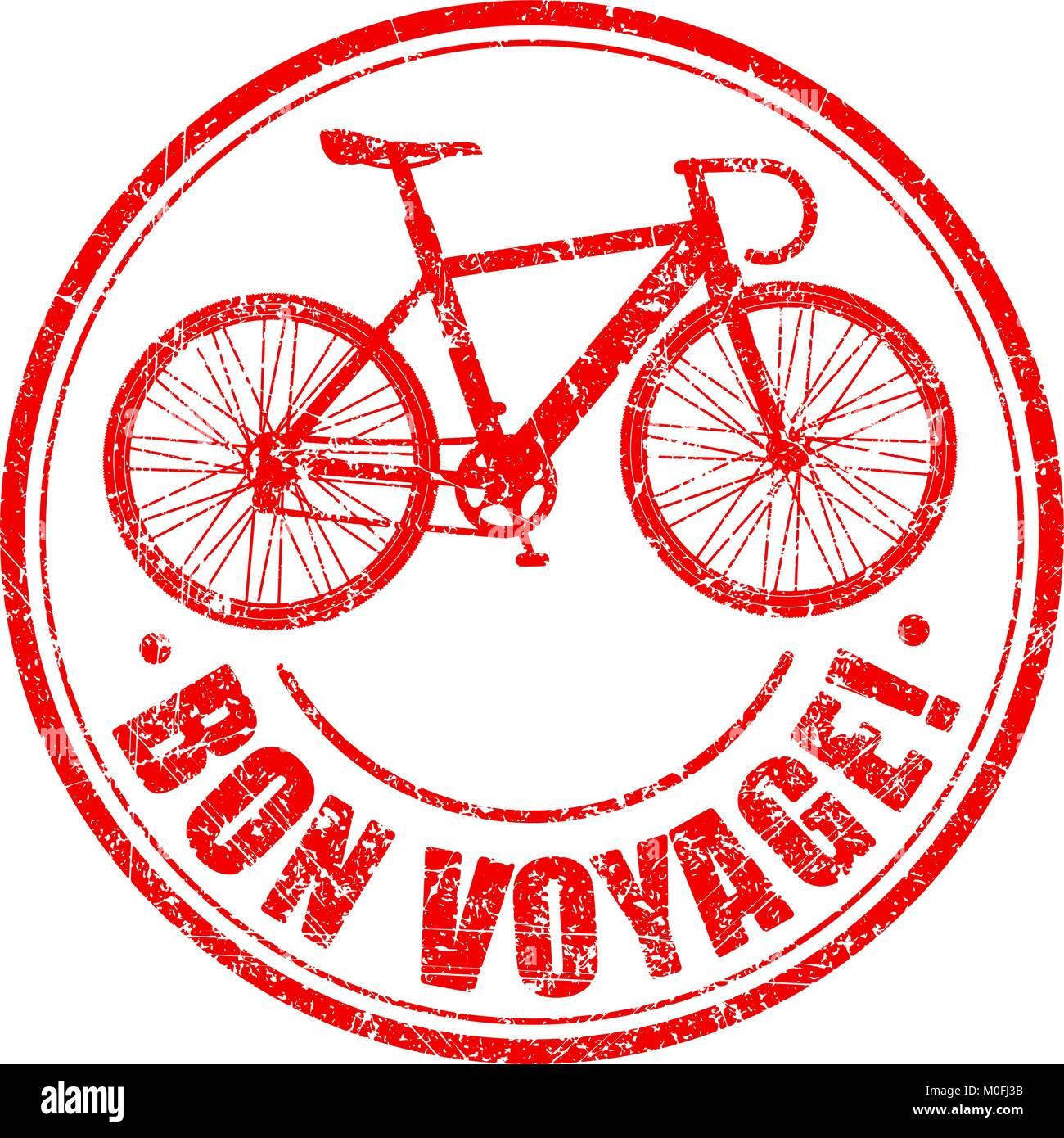 Bon Voyage Grunge Timbro Di Gomma Con Bici Stilizzata Illustrazione