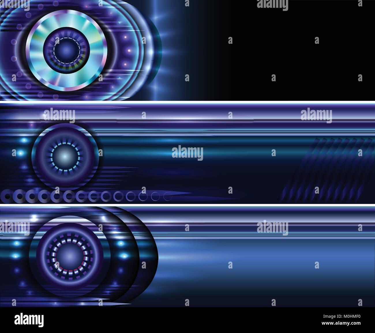Set di astratta della tecnologia vettoriale sito sfondi banner templates Immagini Stock