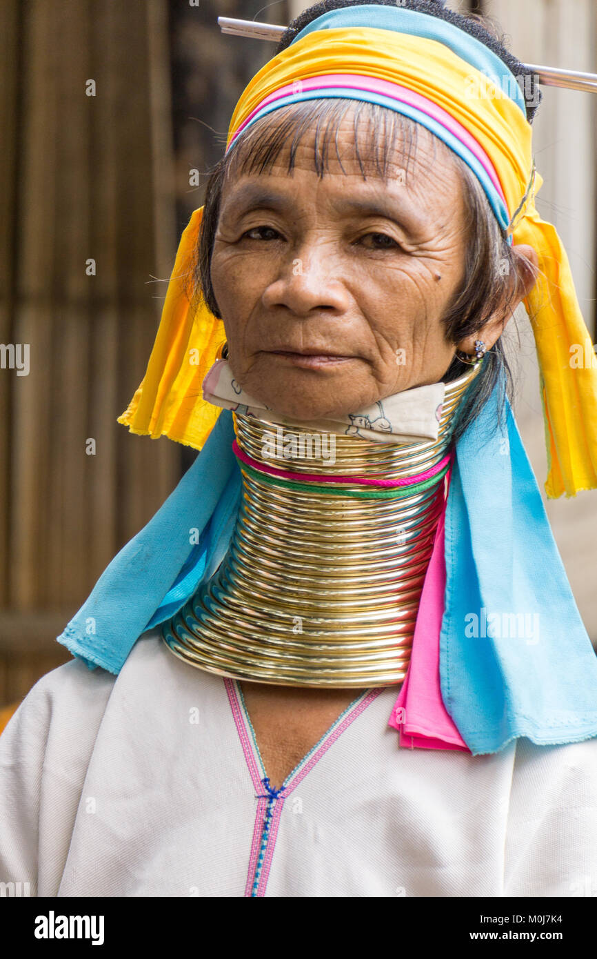 Asia,Thailandia,Chiang Mai,Ban Huay Pa Rai Hill Tribe Village,lungo collo donna Immagini Stock