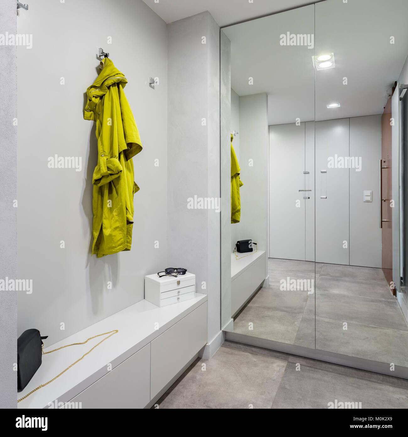 Moderno Armadio A Muro Ingresso.Ingresso Con Moderni Armadio Con Specchi E Bianco Banco Di Storage