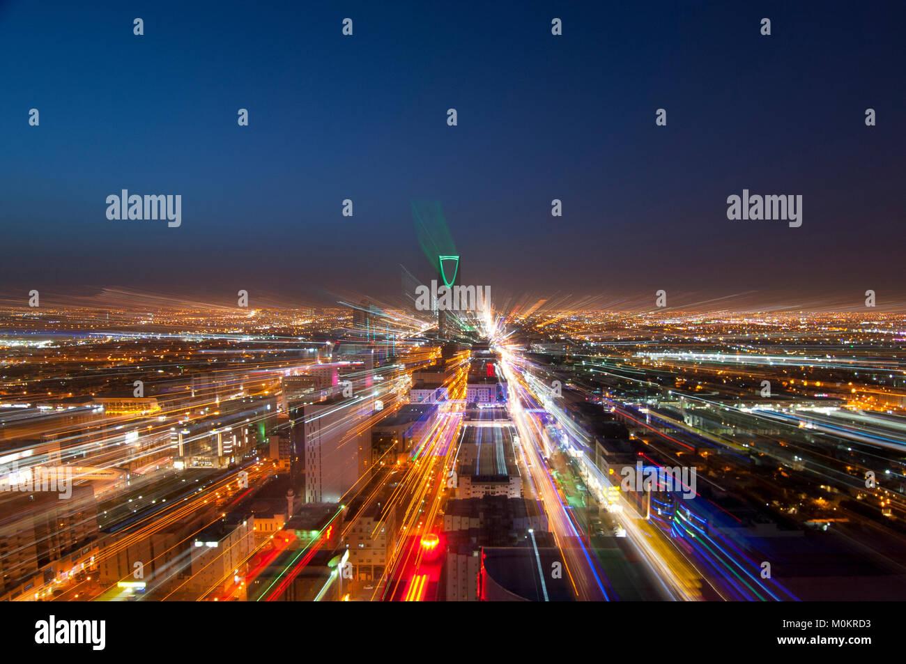 Riyadh skyline notturno n. 4 Immagini Stock