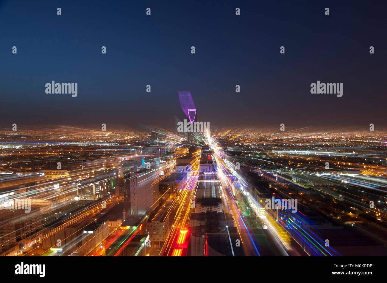 Riyadh skyline notturno n. 6 Immagini Stock