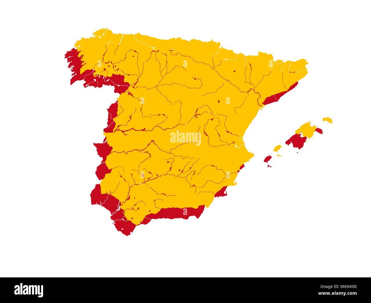 Spagna Cartina Fiumi
