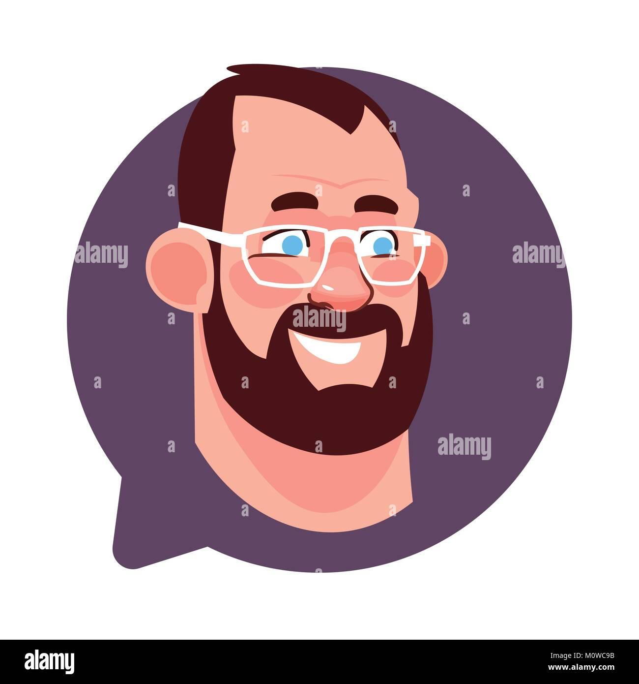 Icona del profilo testa maschio nella bolla di chat isolato barbuto