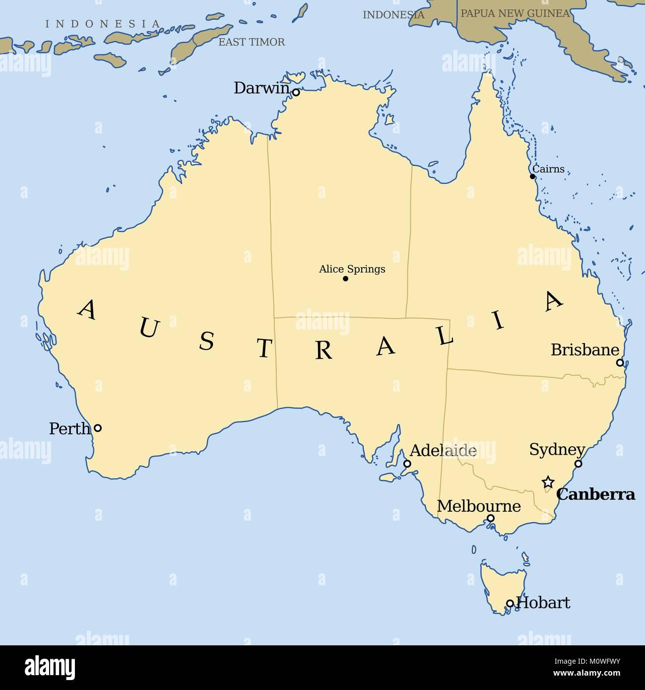 Cartina Australia Politica.Australia Mappa Illustrazione Vettoriale Mappa Politico