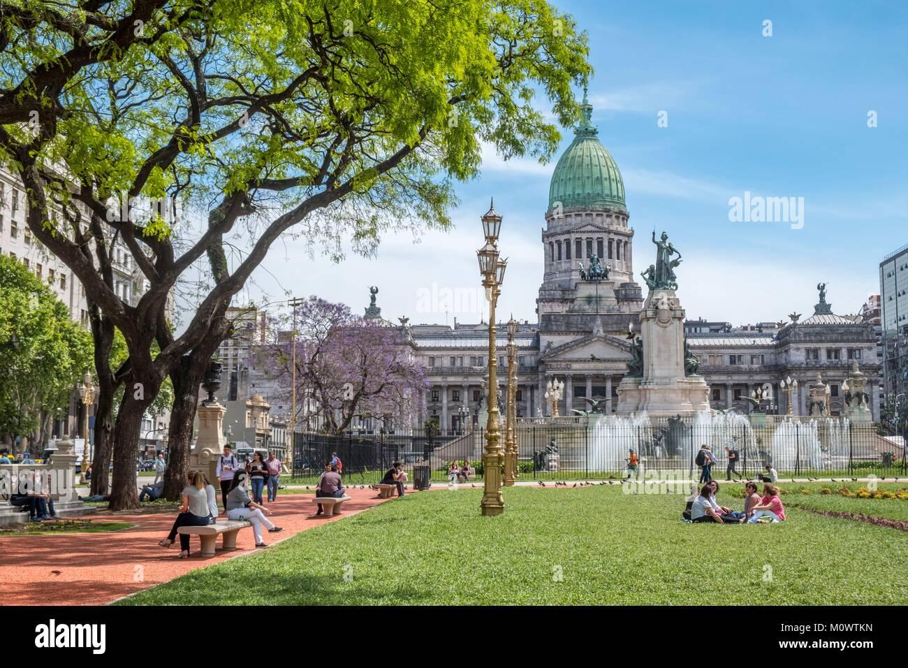L'Argentina,provincia di Buenos Aires,Buenos Aires,Plaza Congreso,Palacio del Congreso Immagini Stock