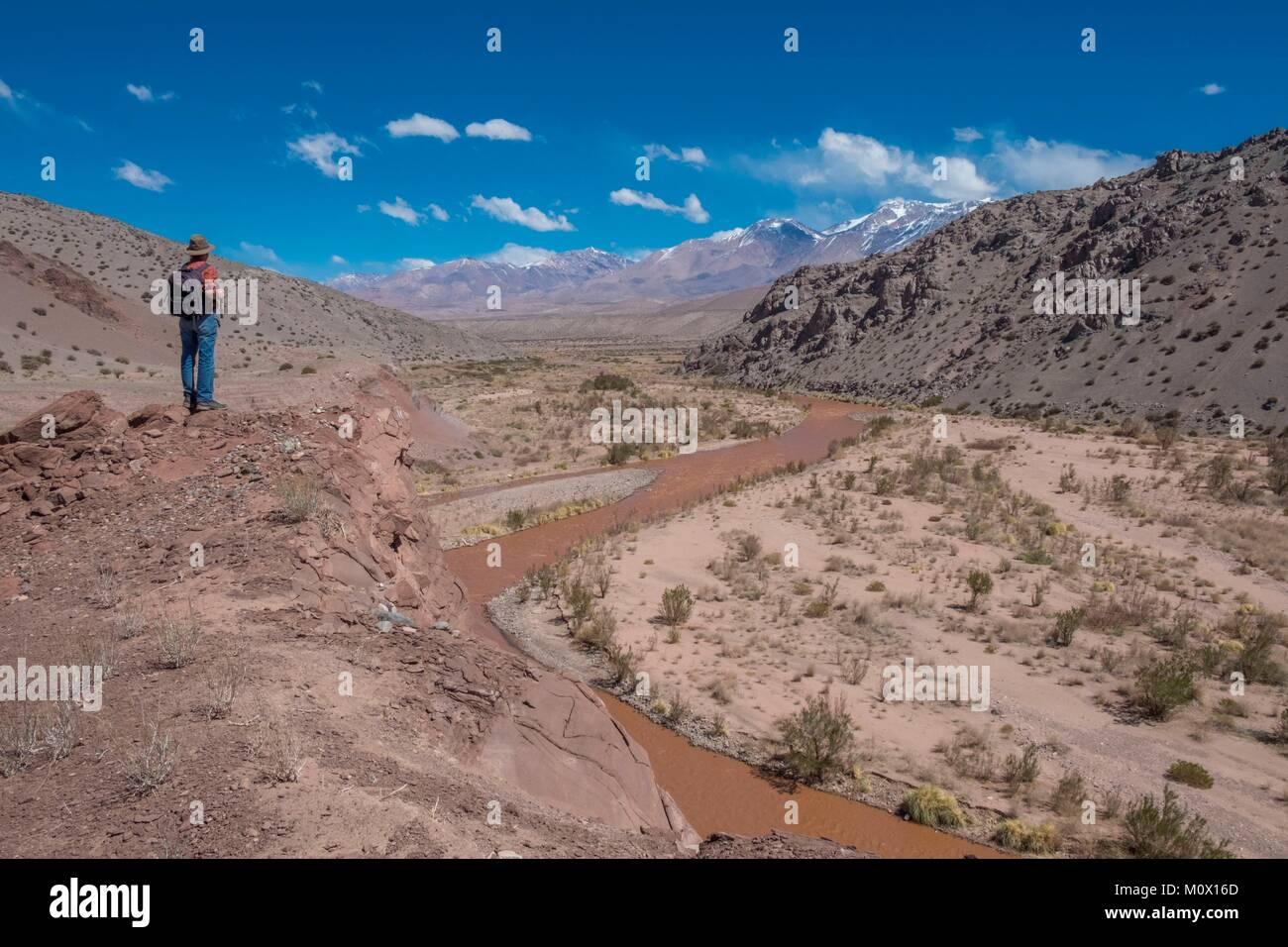 L'Argentina,San Juan provincia,Barreal,Rio de Los Patos valley Immagini Stock