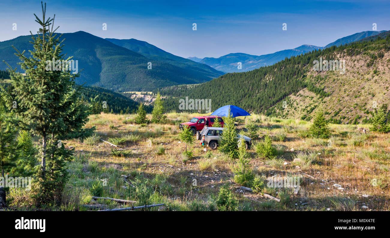 Campeggio a Brewer Creek Forest Service Road, Purcell Montagne, Vicino Invermere, British Columbia, Canada Immagini Stock