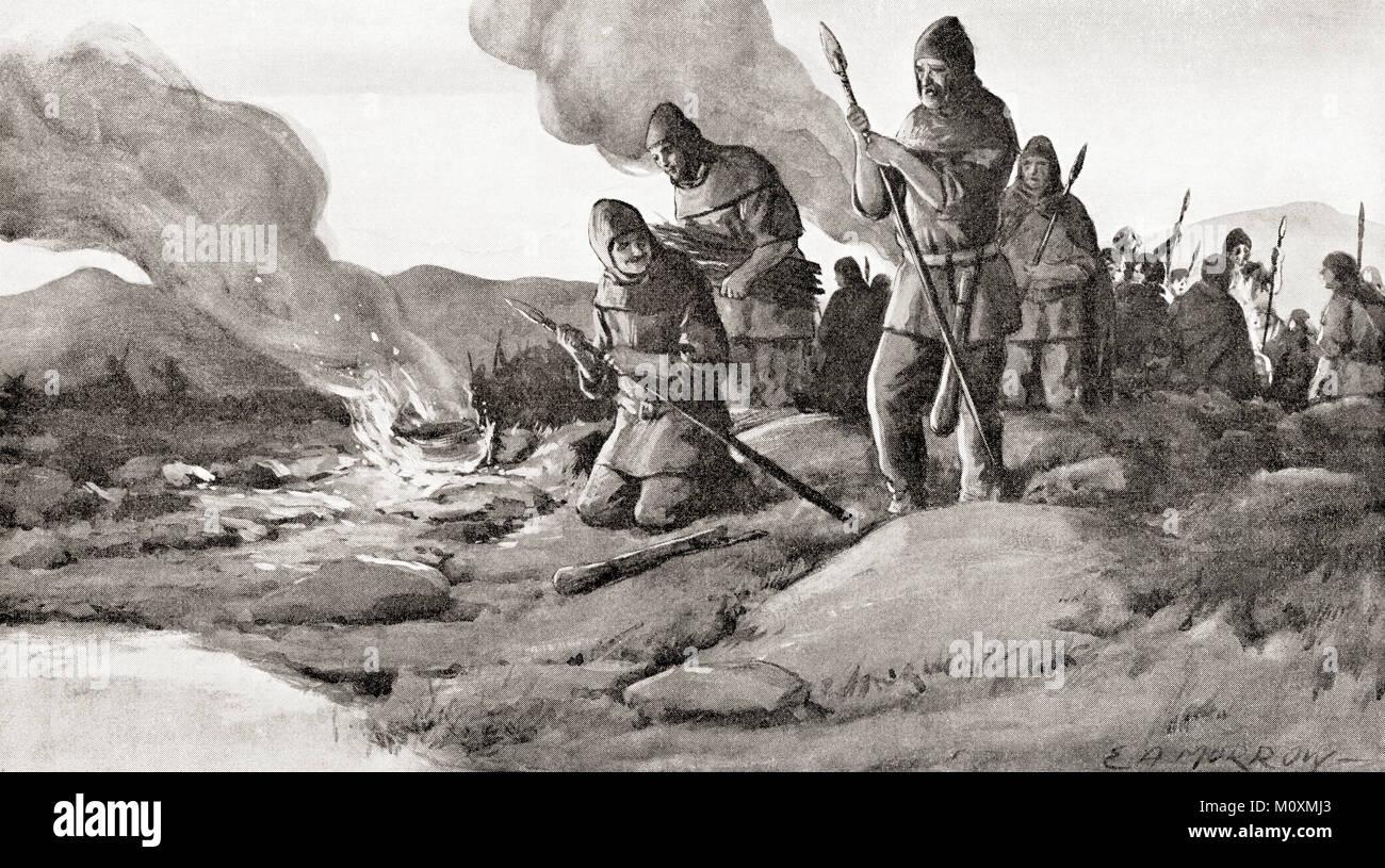 I Goti preparando l'invasione nella Tracia nel 250 d.c. sotto il loro re Cniva, prima della battaglia di Abritus. Immagini Stock