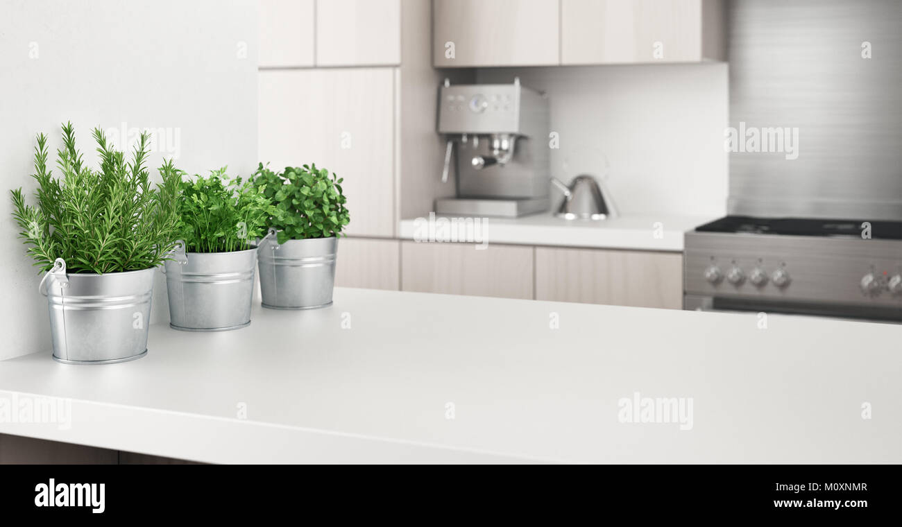 Cucina moderna con piante aromatiche, 3D Rendering immagine ...