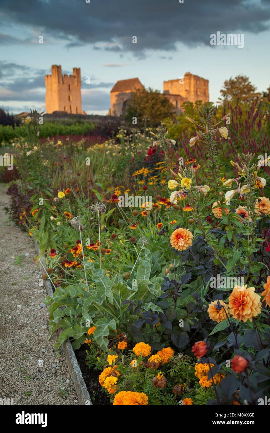 Confine di fiori a Helmsley Walled Garden, North Yorkshire Foto Stock