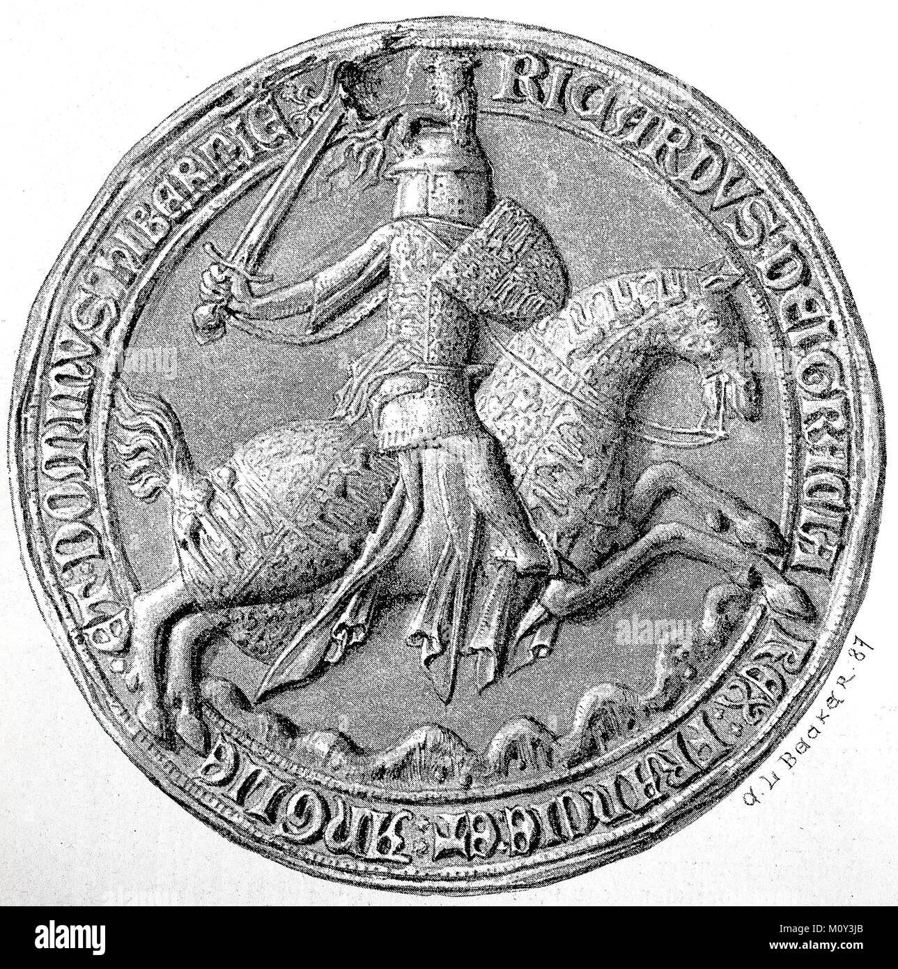 La guarnizione di Richard II nella royal segreto archivio di stato a Berlino, Germania, digitale dei file migliorata Immagini Stock