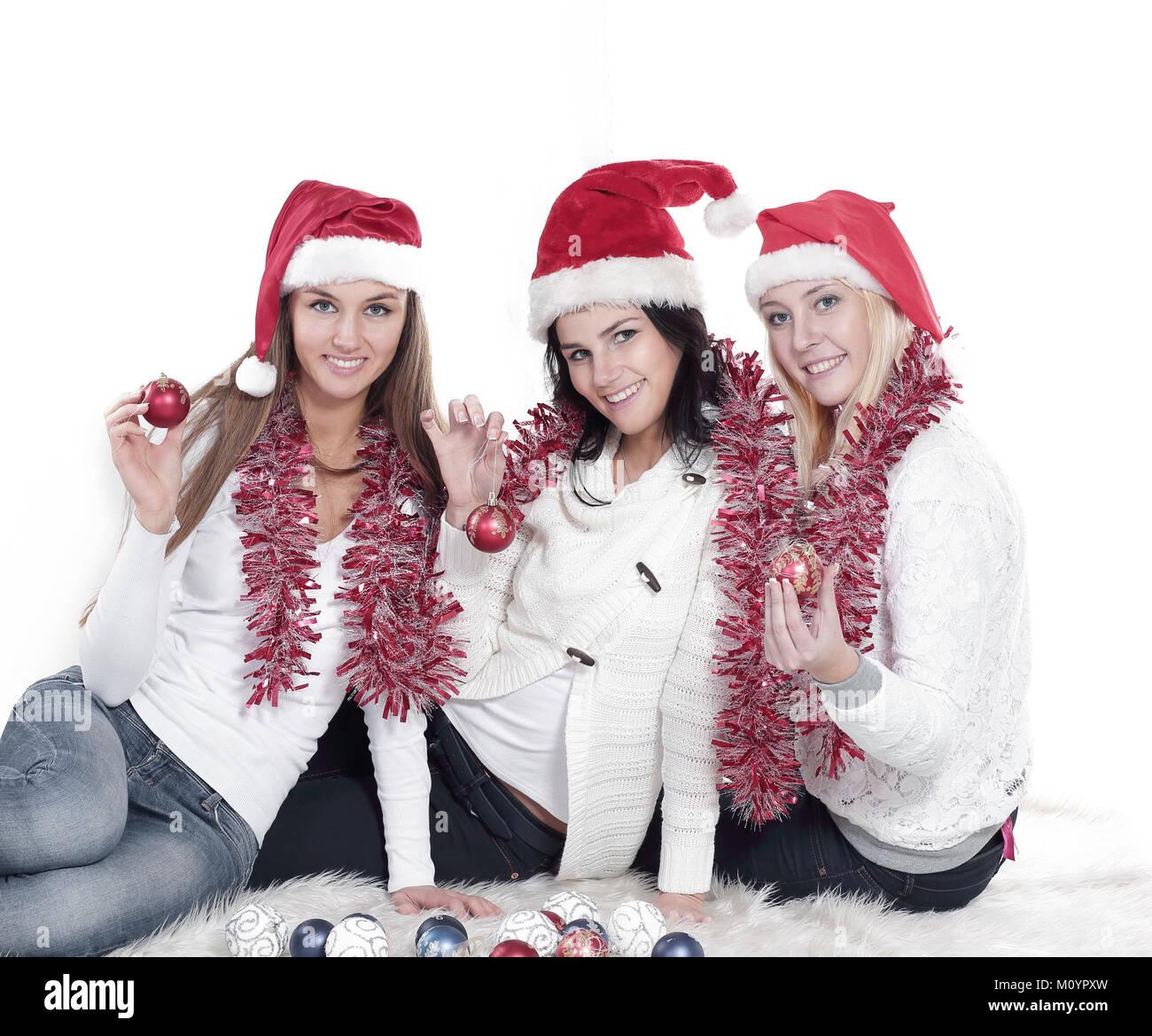 Foto Di Natale Con Donne.Primo Piano Tre Giovani Donne In Cappelli Di Babbo Natale