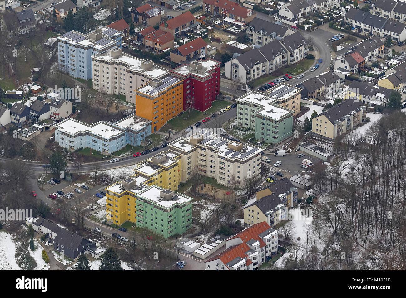 Vista aerea, Tücking e colorati di grattacieli Höxterstraße, Hasp, Hagen, Sauerland, Renania settentrionale Immagini Stock
