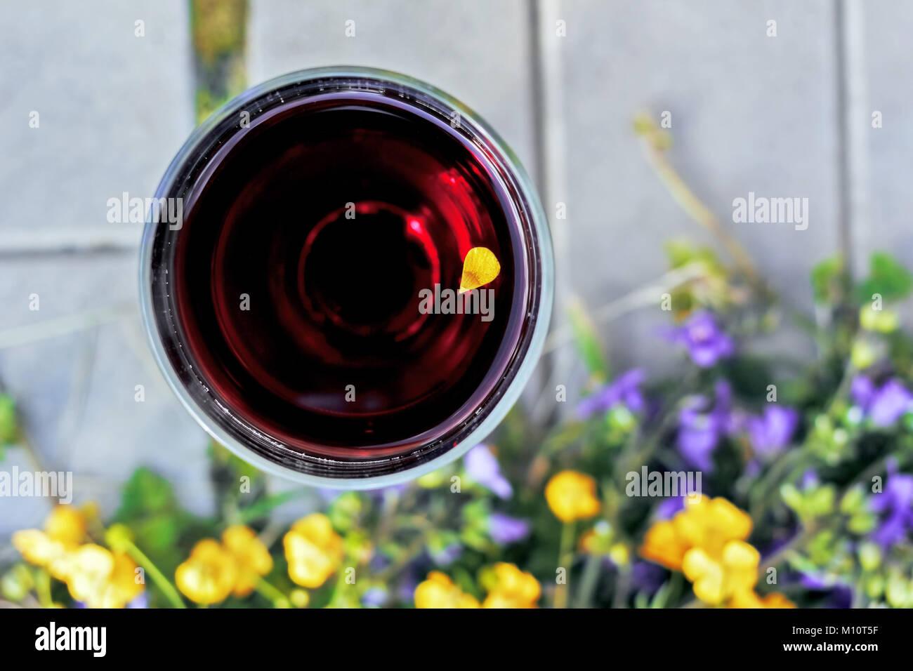 Fiori Gialli Vino.Bicchiere Di Vino Rosso Con Fiore Giallo Petalo A Sera D Estate