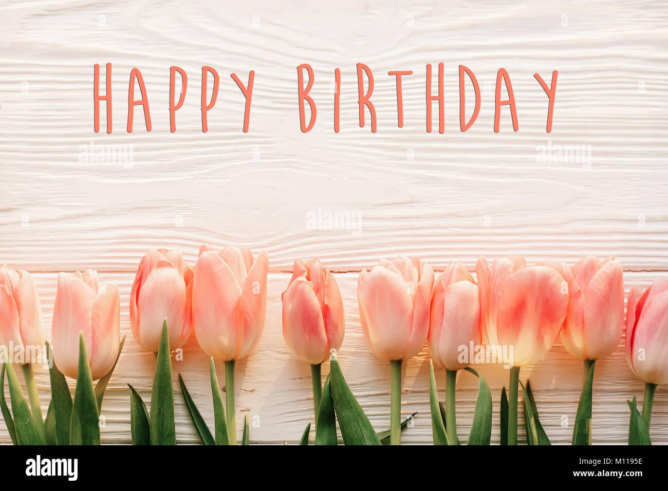 Mazzo Di Fiori Happy Birthday.Happy Birthday Card Colorful Tulips Immagini Happy Birthday Card