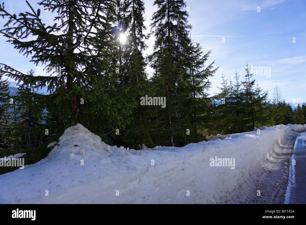 Schwaz Tirolo Pillberg ski resort Winter 2018 con un sacco di neve Immagini Stock