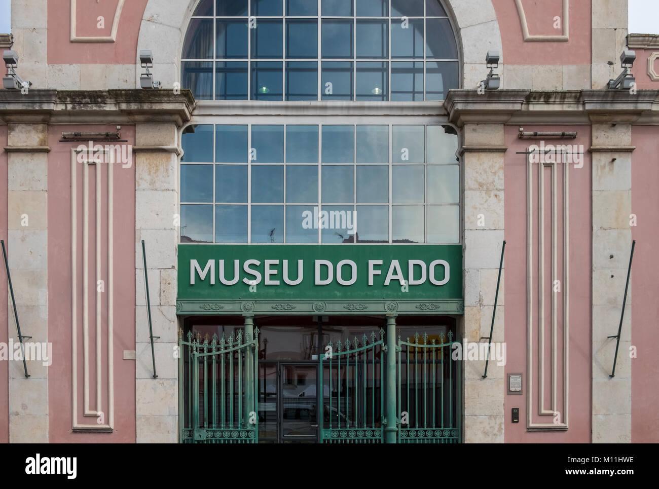 Ingresso al Museu do fado edificio, Largo Chafariz de dentro 1, 1100-139 Lisboa, Portogallo Immagini Stock
