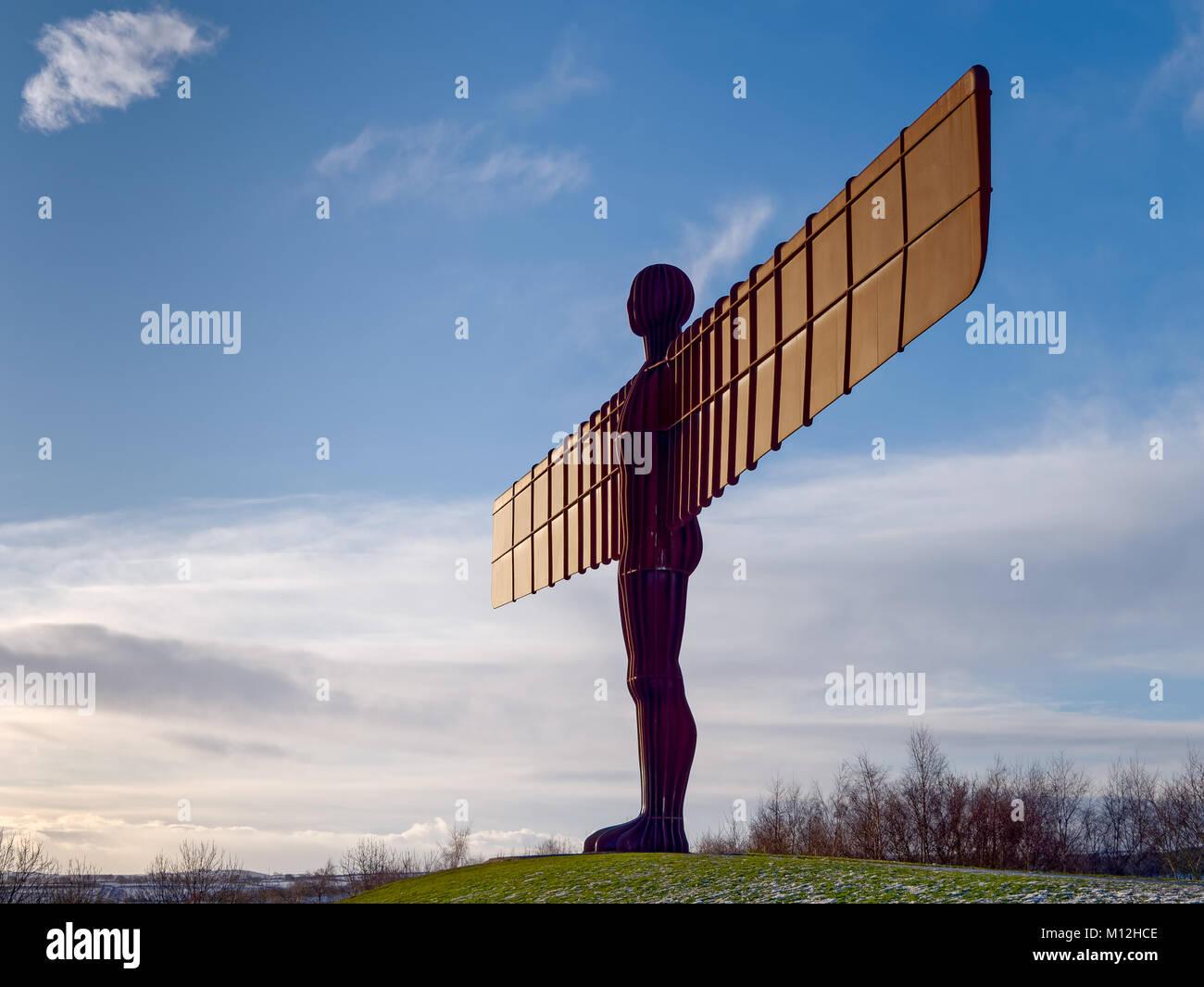 GATESHEAD, Tyne and Wear/UK - gennaio 19 : Vista di angelo del nord di una scultura in Gateshead, Tyne and Wear Immagini Stock