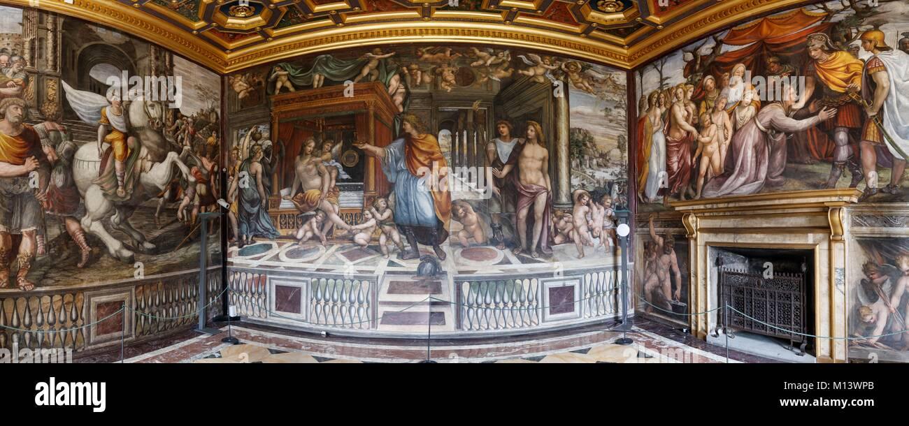 Italia Lazio, Roma, centro storico elencati come patrimonio mondiale dall' UNESCO, Villa Farnesina, affreschi Immagini Stock