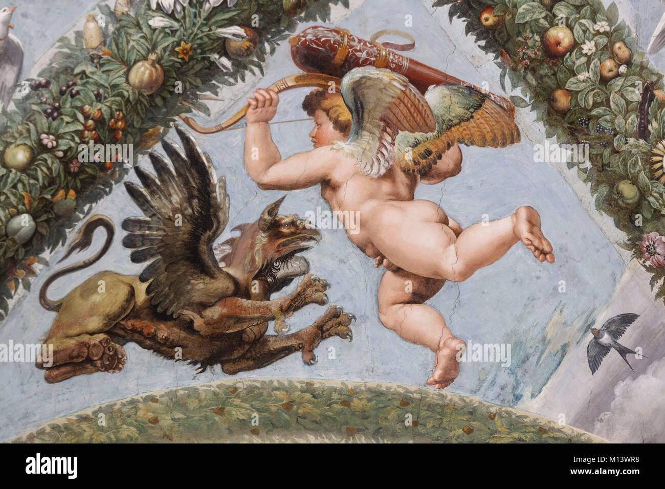 Italia Lazio, Roma, centro storico elencati come patrimonio mondiale dall' UNESCO, Villa Farnesina, cherubino Immagini Stock