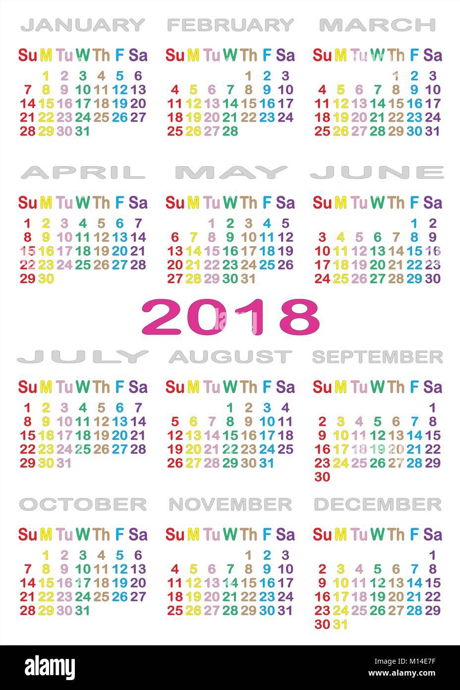 Calendario 2018 separati su sfondo bianco con colore specifico per ogni giorno della settimana Immagini Stock