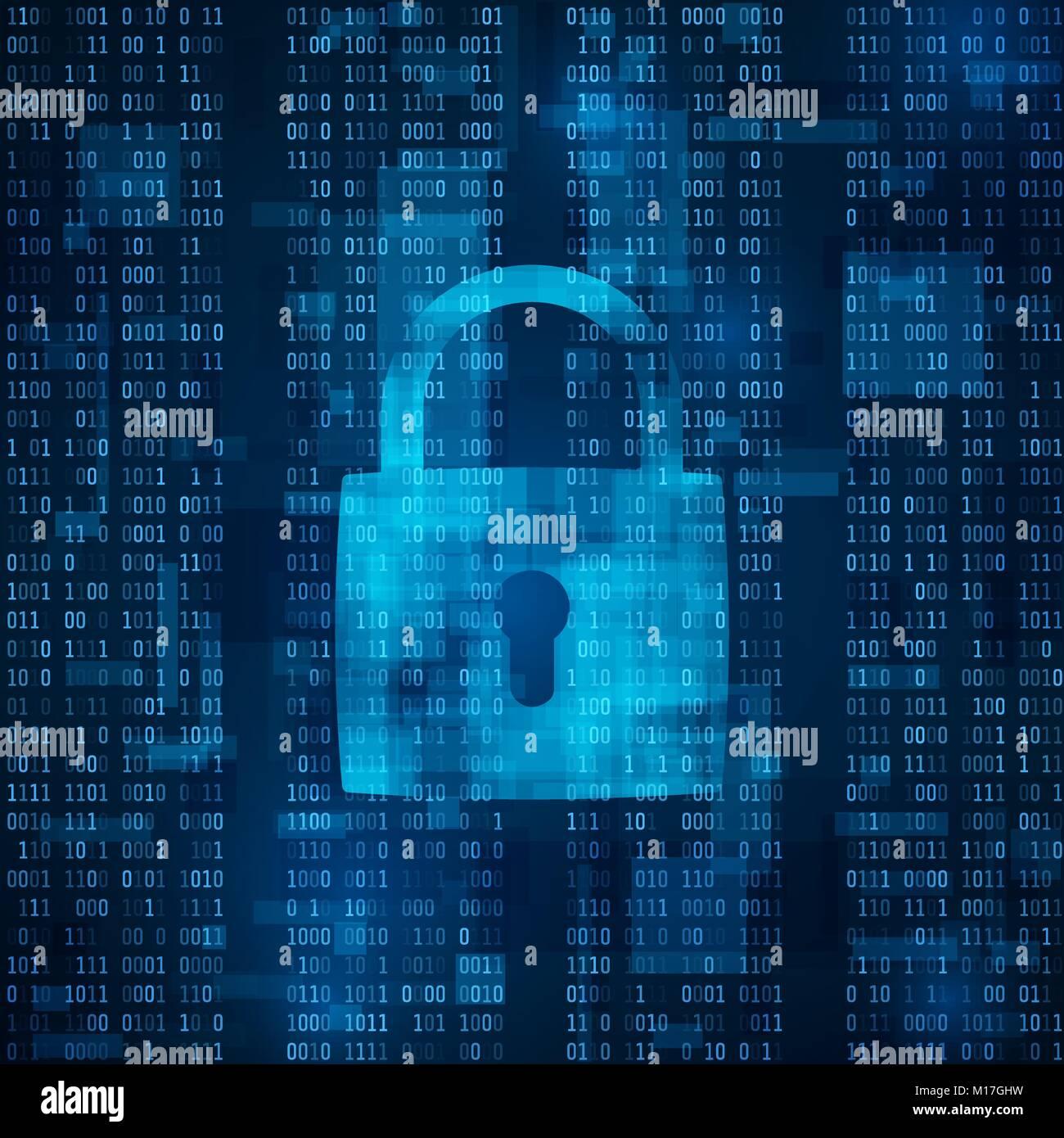 Attacco hacker blocco. La protezione dei dati da hacking. software antivirus. cyber security. La crittografia dei Immagini Stock