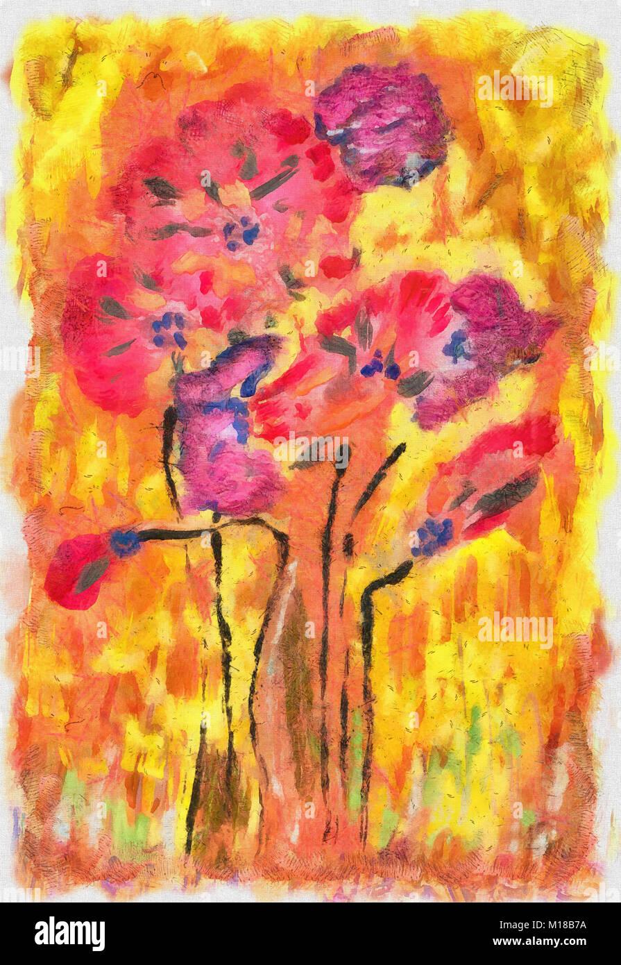 Gouache pittura papaveri Immagini Stock
