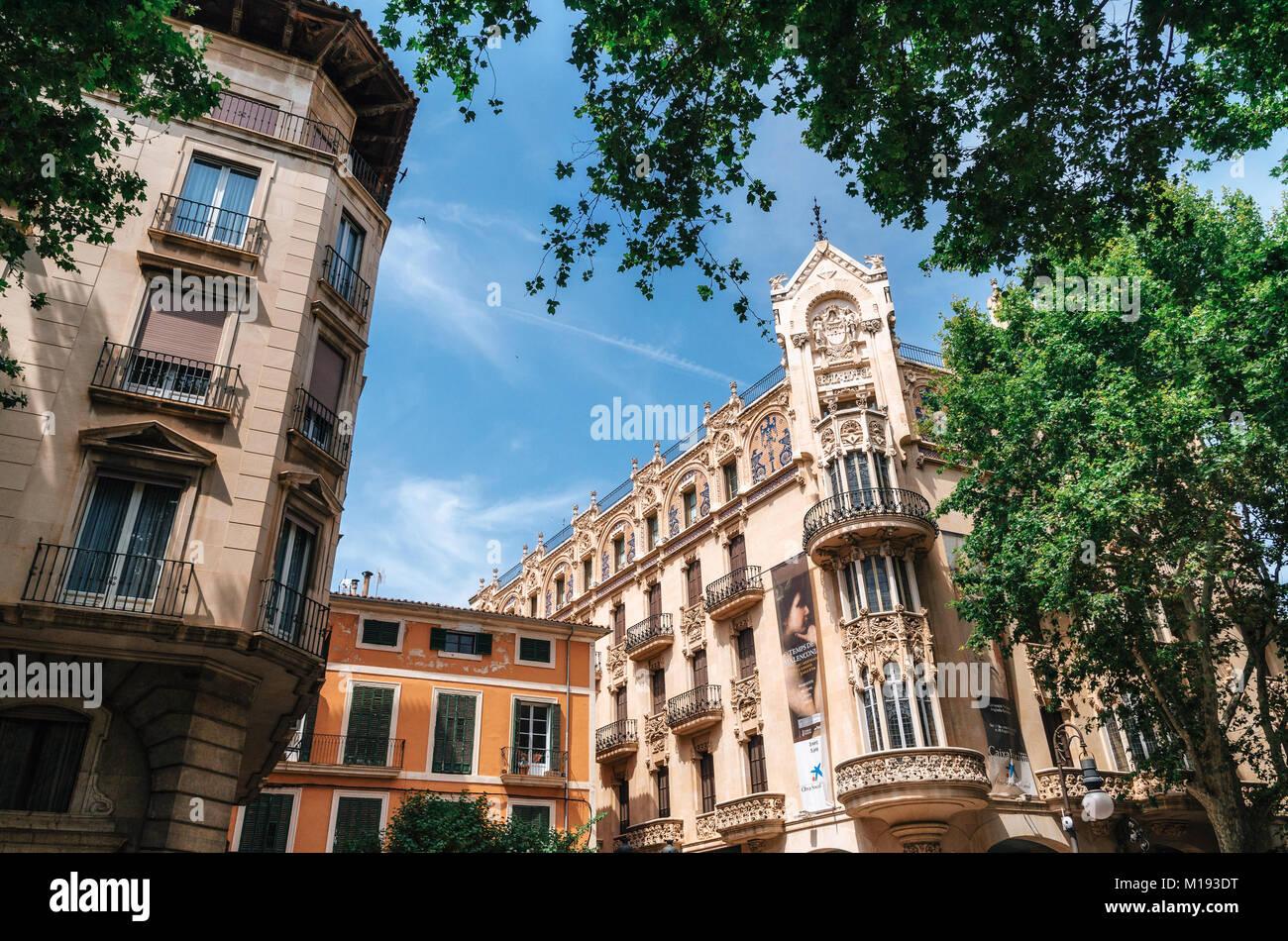 Palma de Mallorca, Spagna - 27 Maggio 2016: la moderna architettura mediterranea in Palma di Maiorca, isole Baleari, Foto Stock