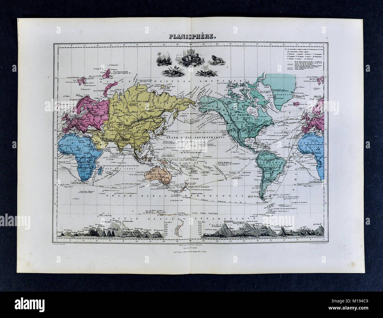 1877 Migeon mappa Immagini Stock