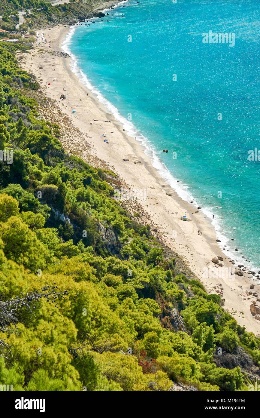 Spiaggia di Pefkoulia, Lefkada Island, Grecia Immagini Stock