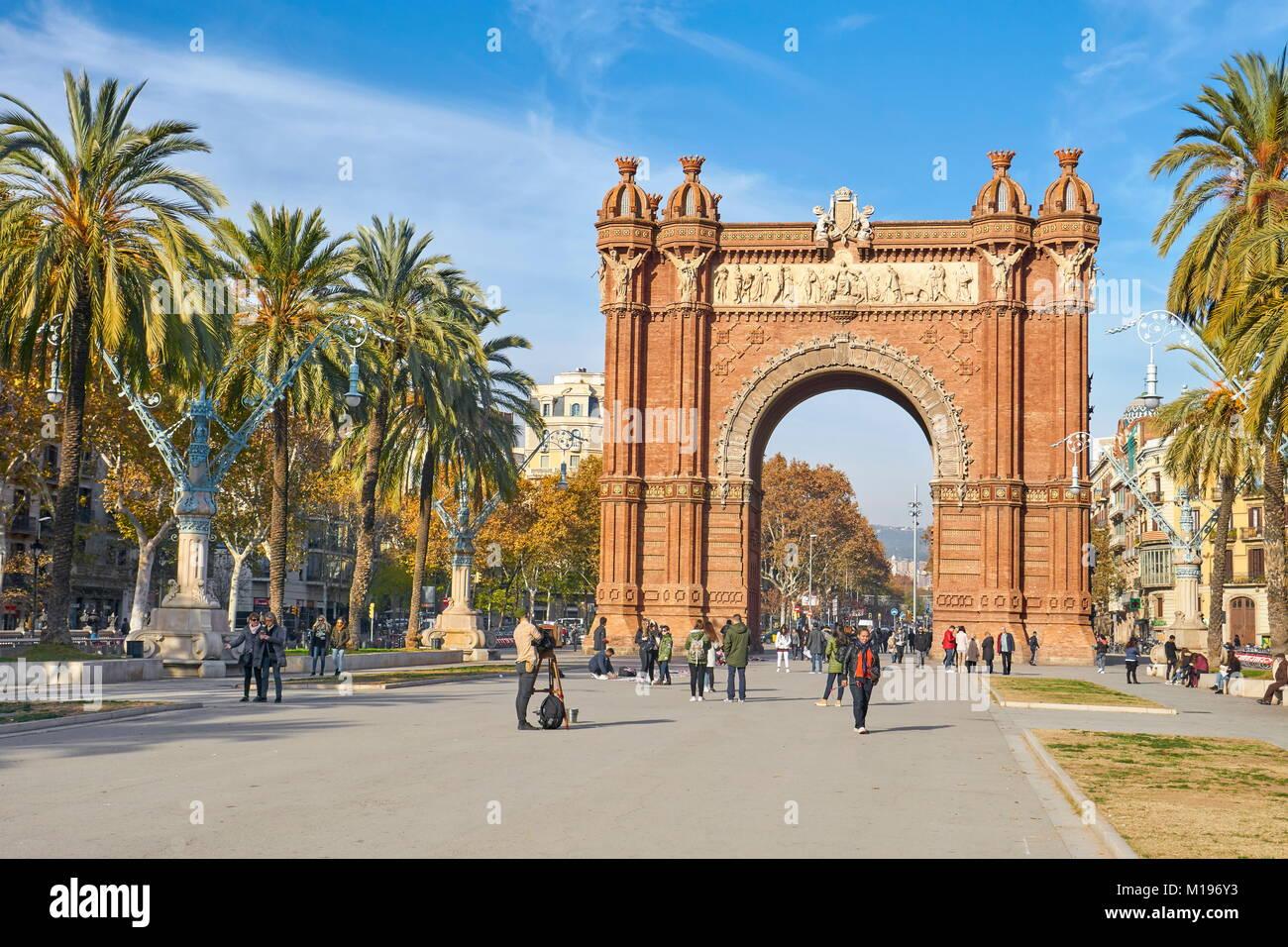 Arc de Triomf o Arco de Triunfo, Barcellona, in Catalogna, Spagna Immagini Stock